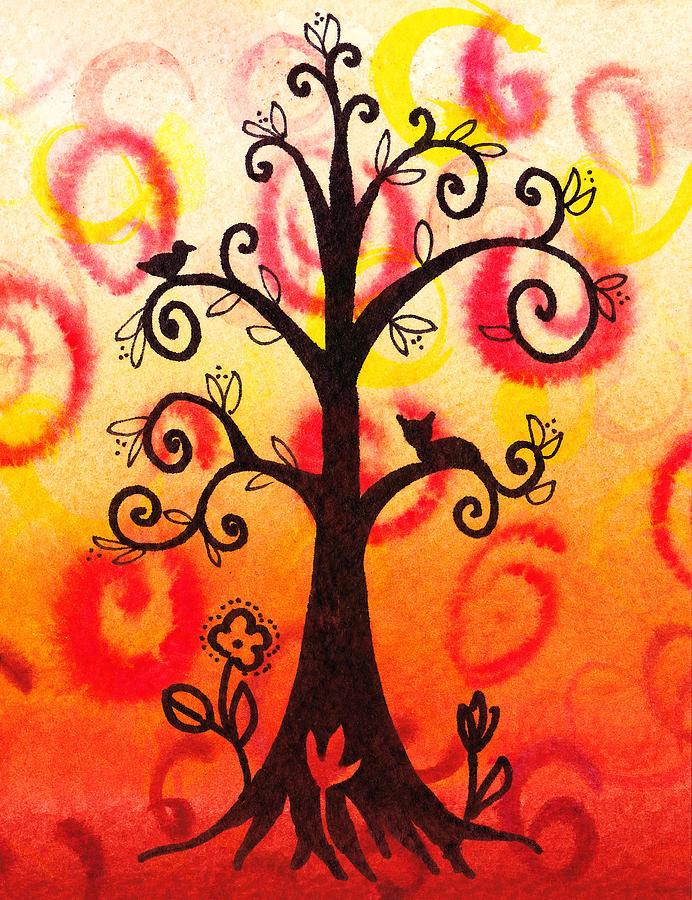 Tree Painting - Fun Tree Of Life Impression V by Irina Sztukowski