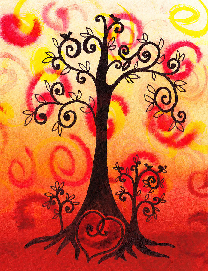 Heart Painting - Fun Tree Of Life Impression Vi by Irina Sztukowski