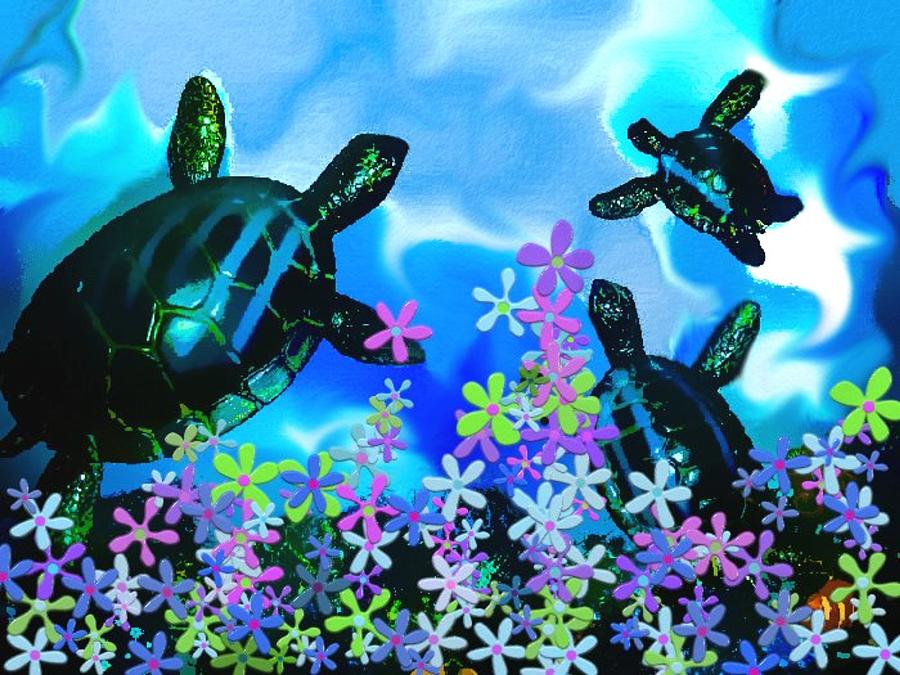 Turtles Photograph - Fun With Sea Turtles by Lady Ex