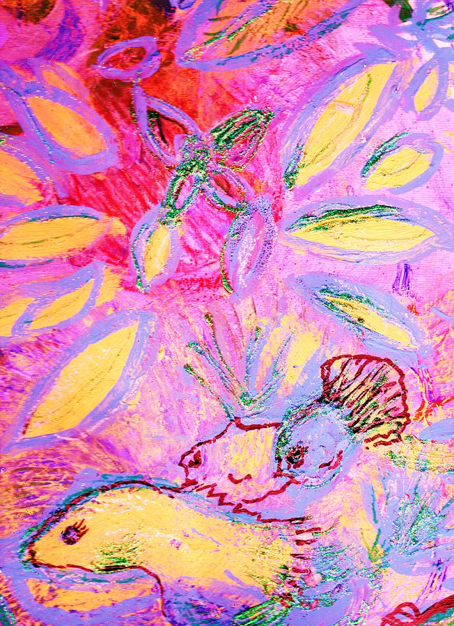 Fun Mixed Media - Fun With The Fishes II by Anne-Elizabeth Whiteway