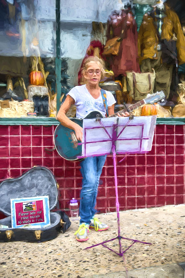 Buskers Mixed Media - Fundraising For An Education by John Haldane