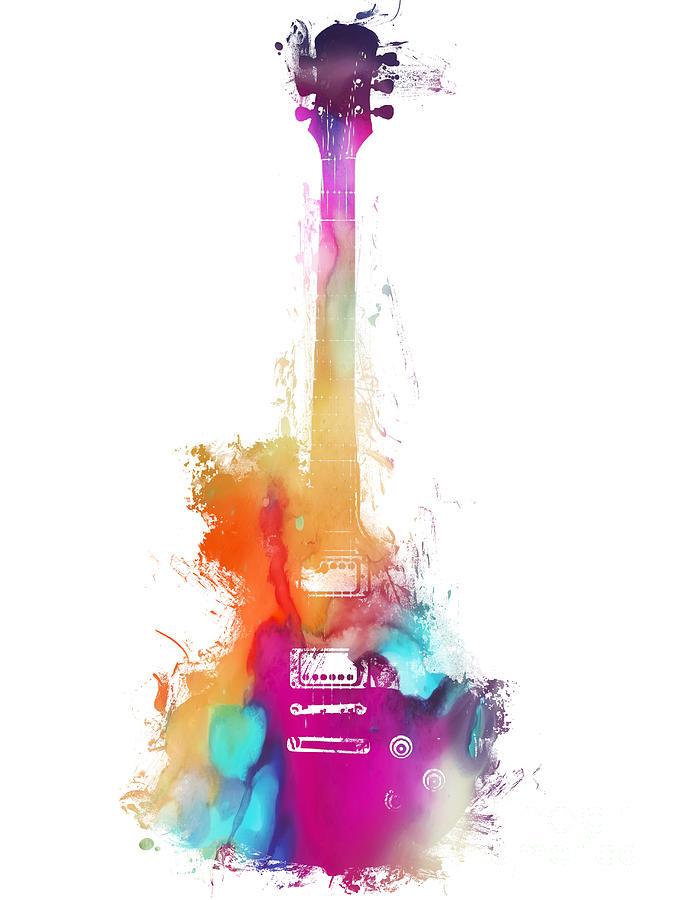 Guitar Digital Art - Funky colored Guitar by Justyna Jaszke JBJart