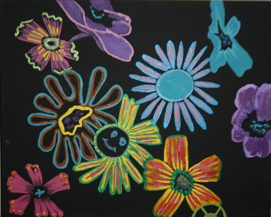 Flowers Painting - Funky Flowers by Betty-Anne McDonald