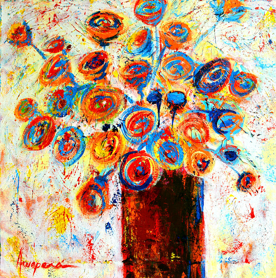 Flower Bouquet Painting - Funky Flowers by Patricia Awapara