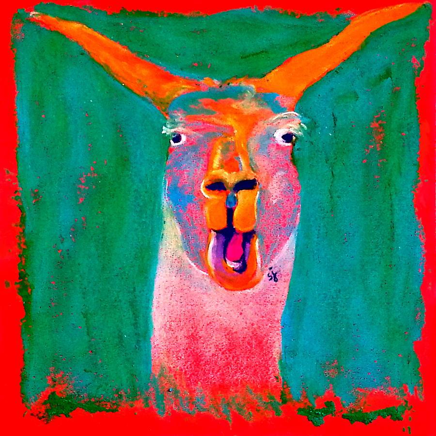 Funky Llama Art Print by Sue Jacobi