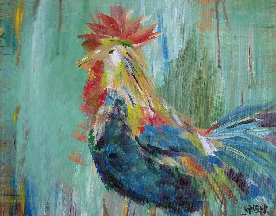 Rooster Painting - Funky Rooster by Kathy Stiber