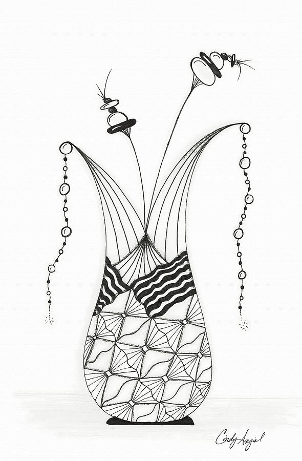 Funky Vase Drawing By Cindy Angiel