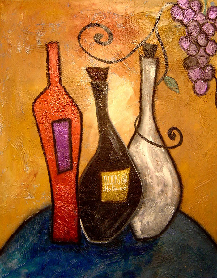 Vibrant Painting - funky Vino 10 by Gino Savarino