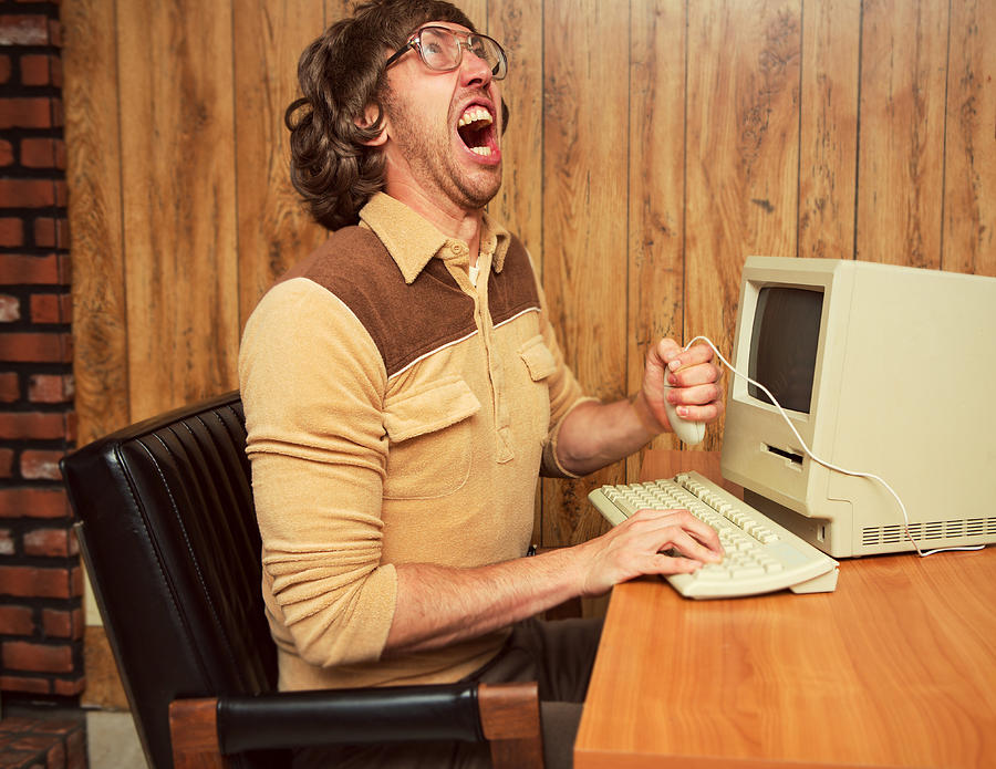 Funny angry 1980s office worker Photograph by Sjharmon