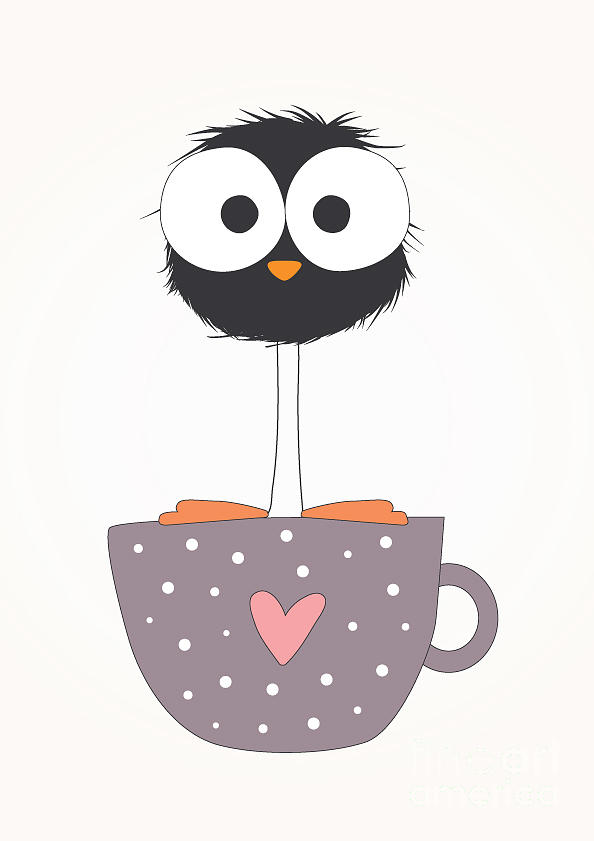 Love Digital Art - Funny Bird On A Cup Illustration by Mers1na