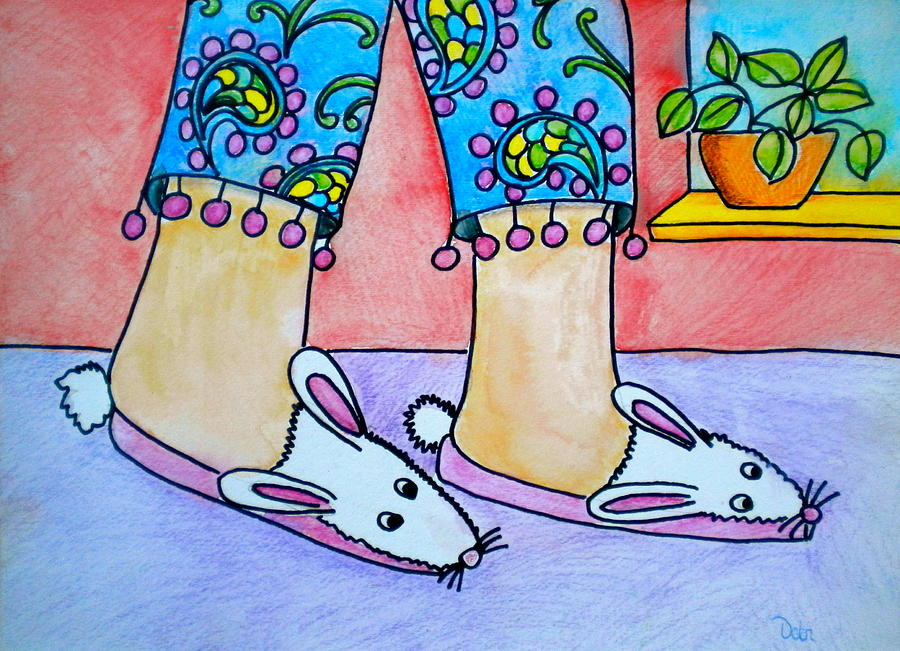 Rabbit Painting - Funny Bunny Slippers by Debi Starr