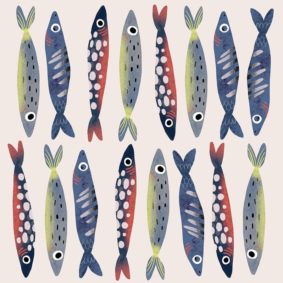 Funny Card With Fish Digital Art by Ekaterina Ladatko