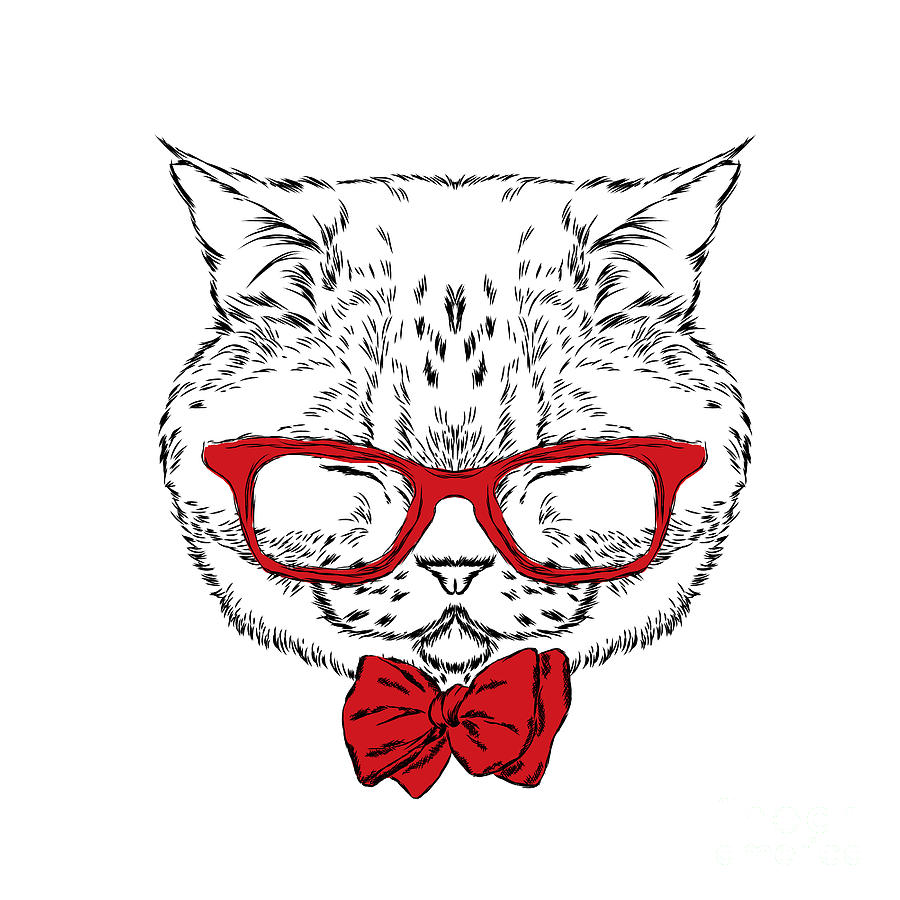 Shop Digital Art - Funny Cat In A Tie And Glasses. Vector by Vitaly Grin