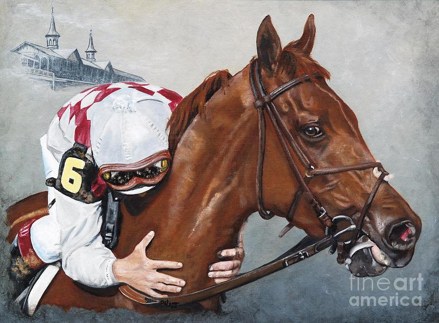 Funny Cide The Kiss Painting By Pat Delong
