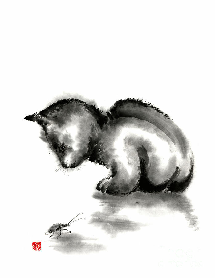 Funny Cute Little Black Cat And Beetle Japanese Sumi E Original Ink Painting Art Print Painting