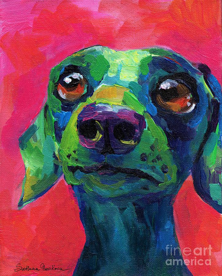 Funny dachshund weiner dog by Svetlana Novikova