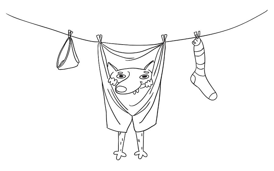 Funny Dog Hanging In Pants On Clothes Dryer Rope Hand Drawn Vector