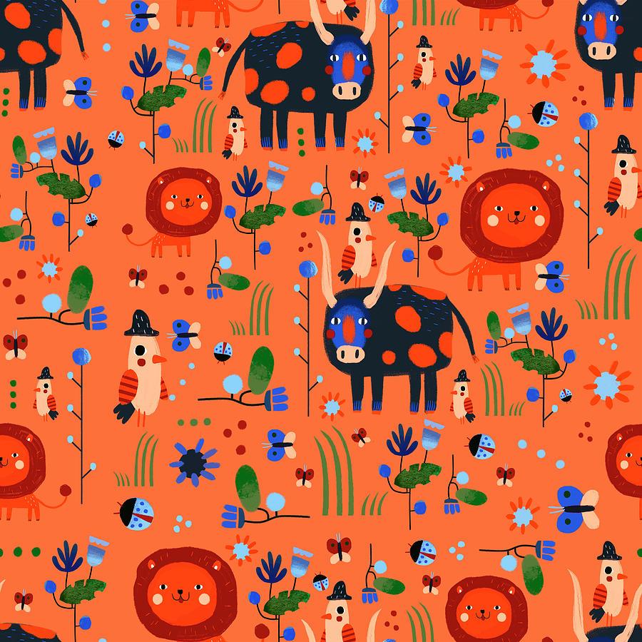 Funny Pattern With Animals Digital Art by Ekaterina Ladatko