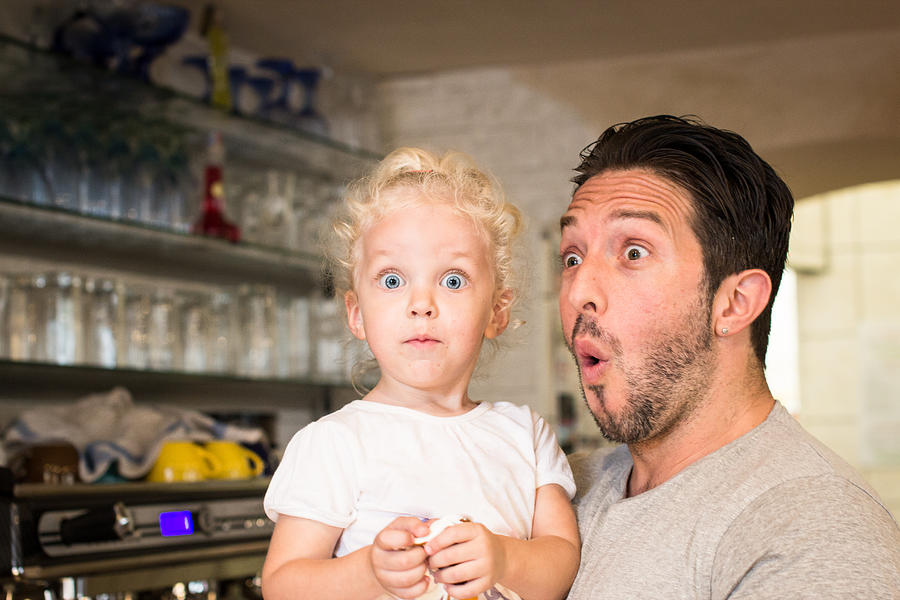 Funny Portrait Of Father And Daughter Photograph by - Locrifa -