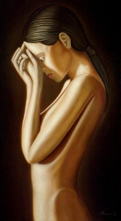 Nude Painting - Fuori e dentro di me by Alessandra Veccia