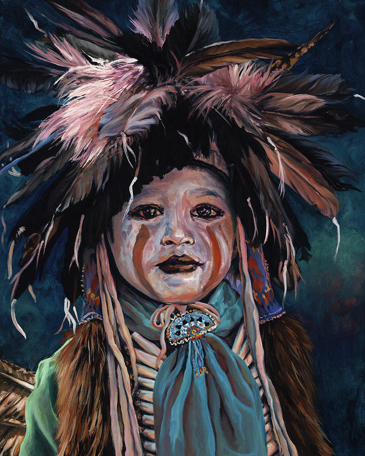 Native American Painting - Fur and Feathers by Christine Lytwynczuk