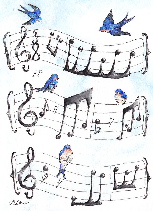 Swallows Painting - Fur Elise Song Birds by Theresa Stinnett