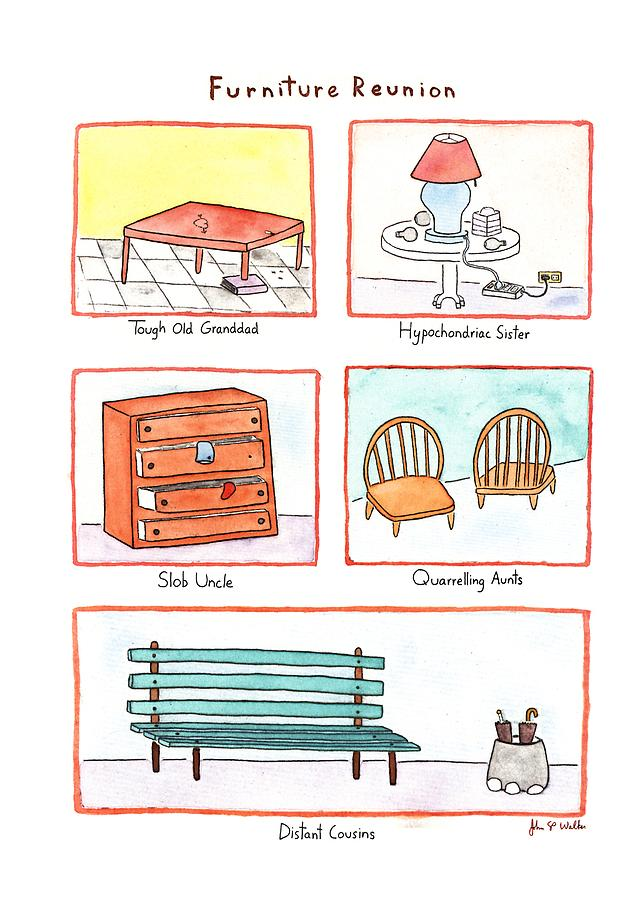 Furniture Reunion Drawing by John S.P. Walke