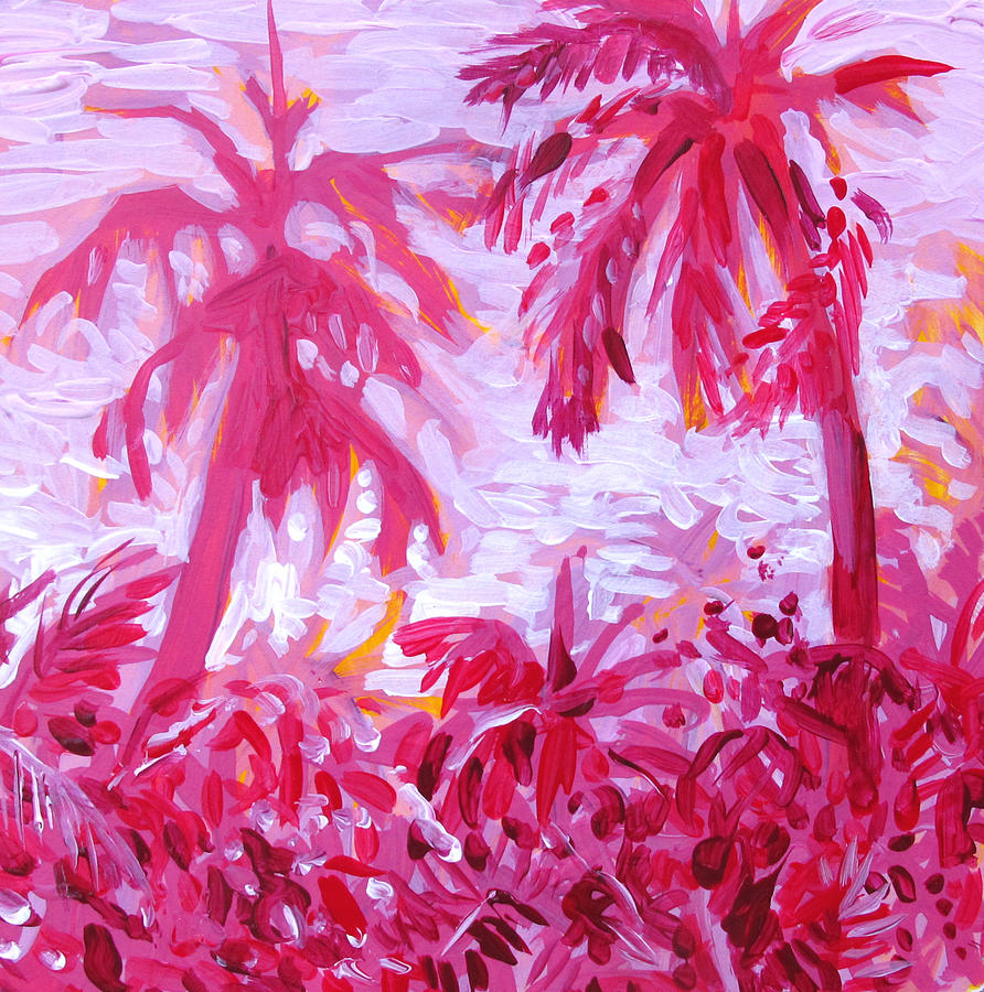 Pink Painting - Fuschia Landscape by Tilly Strauss
