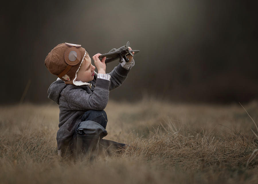 Childhood Photograph - Future Aviator by Annie Whitehead
