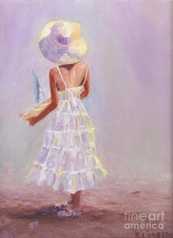 White Hat Painting - Future Boat Builder by Sandy Linden