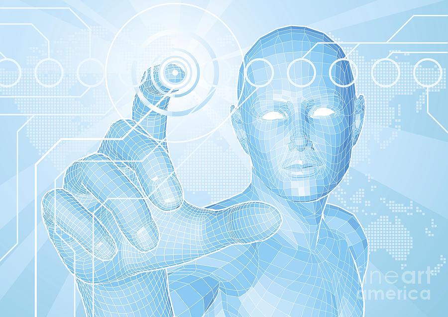 Button Mixed Media - Future Man Touch Screen Concept by Christos Georghiou