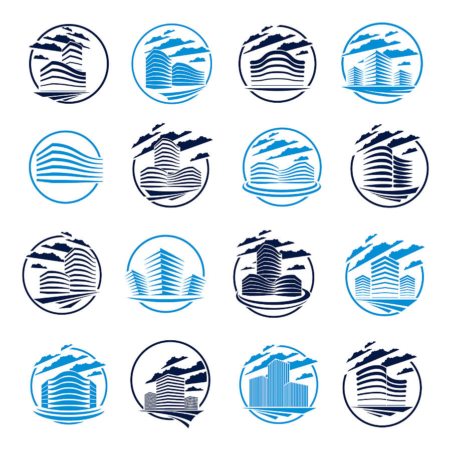 Futuristic Building Round Shape Icon Set Modern Style Vector