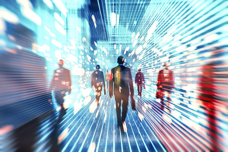 Futuristic VR businessmen Photograph by Gremlin
