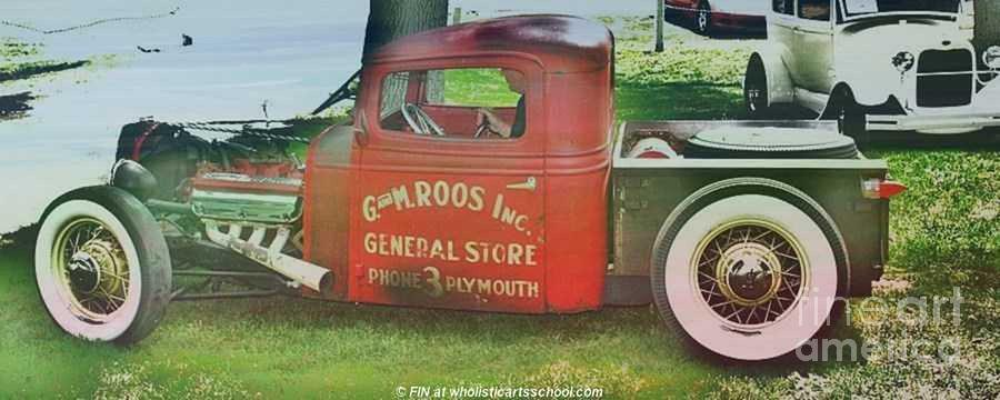 Vintage Car Mixed Media - G And M Roos Inc. by PainterArtist FIN