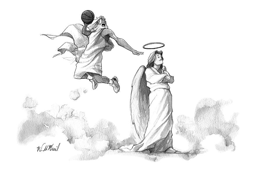G-d Slam Dunks On An Angels Halo Drawing by Will McPhail