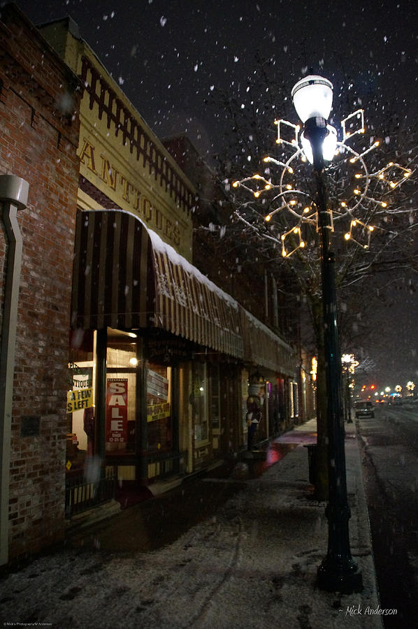 Snow Photograph - G Street Antique Store In The Snow by Mick Anderson