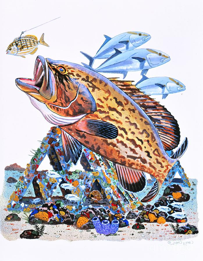 Gag Grouper Painting - Gag Grouper by Carey Chen