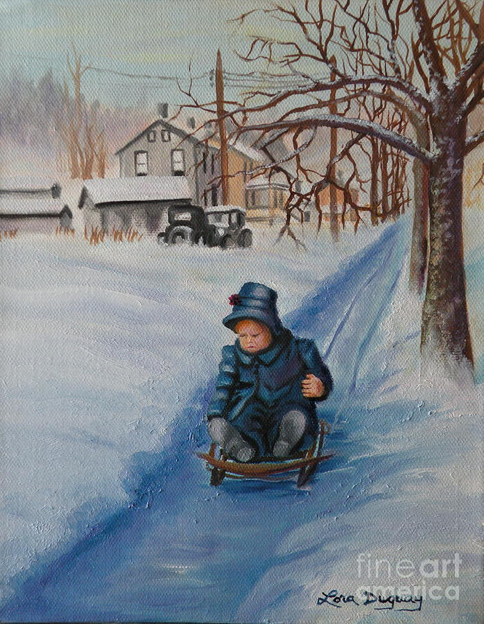 Snow Scene Painting - Gails Christmas Adventure by Lora Duguay