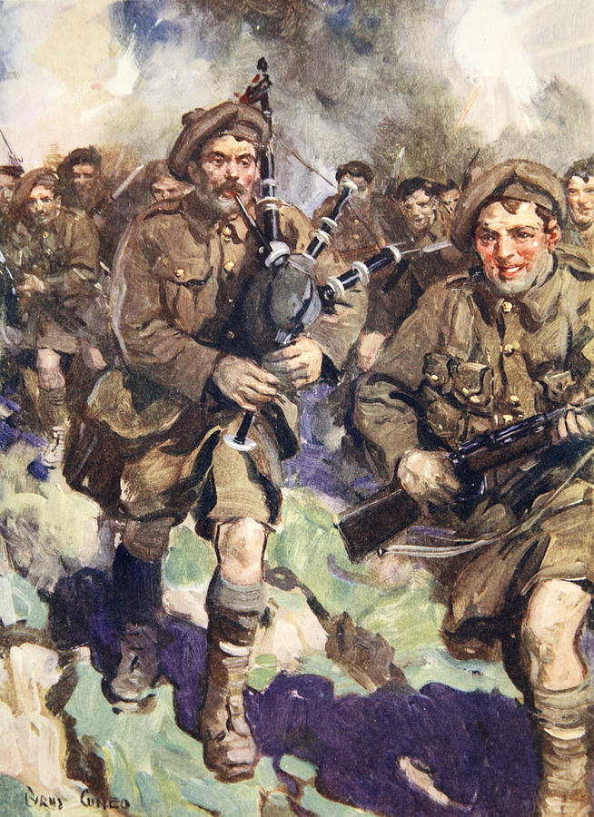 Black Watch Drawing - Gallant Piper Leading The Charge by Cyrus Cuneo