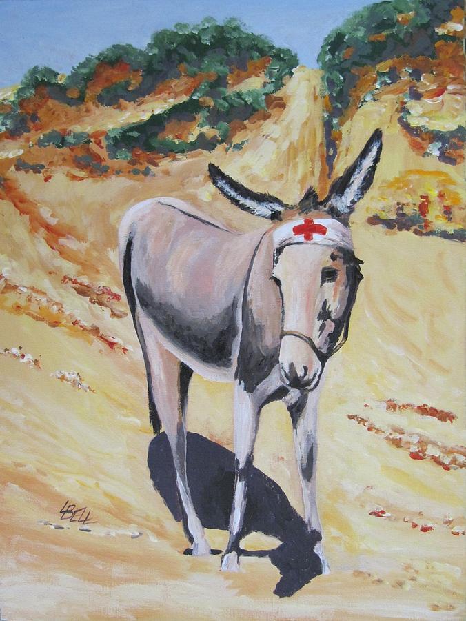 Donkey Painting - Gallipoli Donkey by Leonie Bell