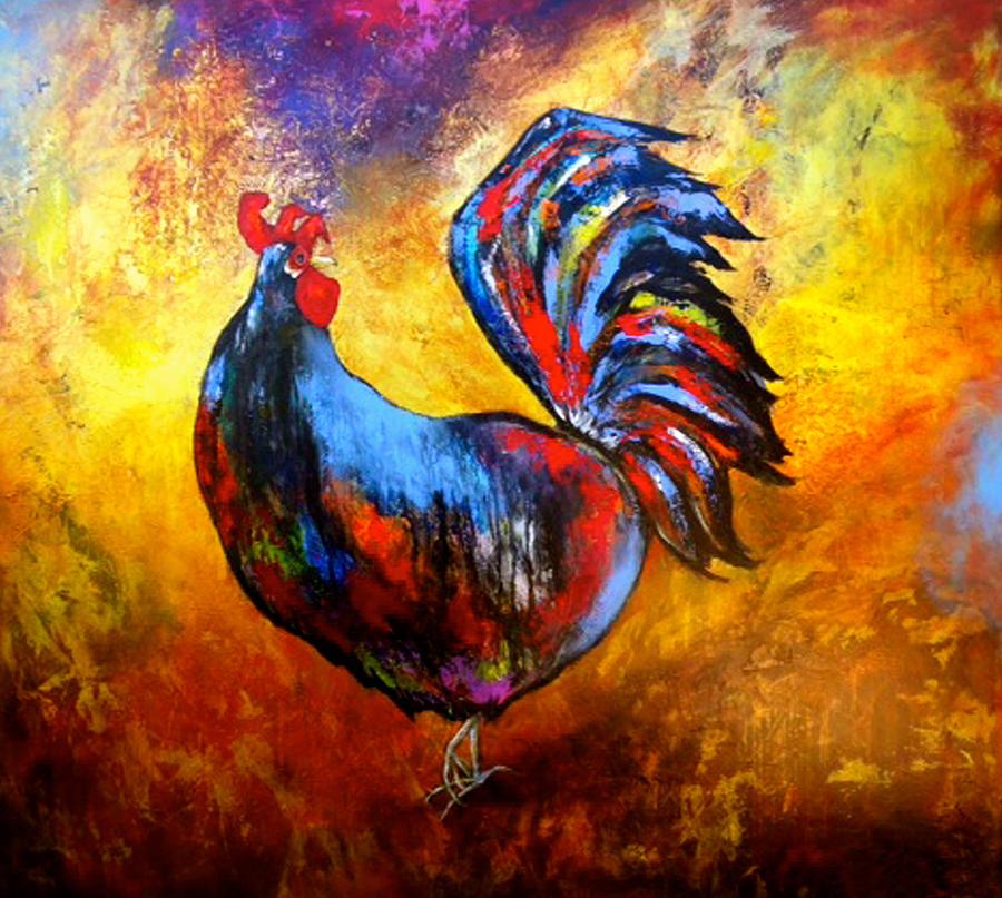 Birds Painting - Gallo by Thelma Zambrano