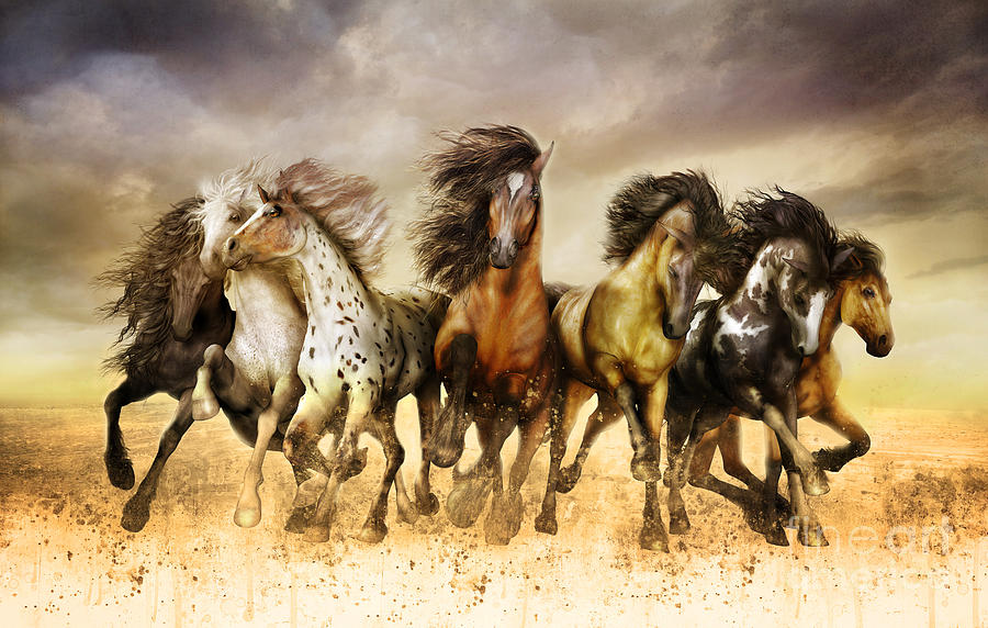 Magnificent Seven Digital Art - Galloping horses Full Color by Shanina Conway