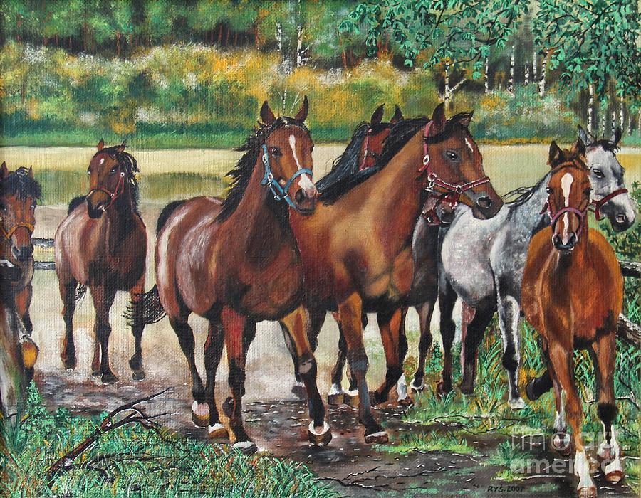 Galloping Horses Painting