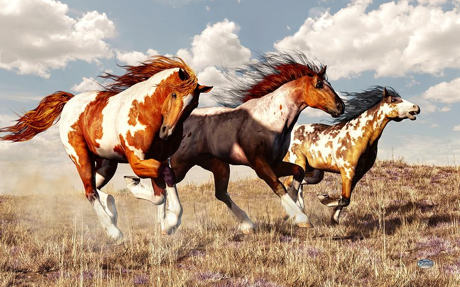 Gallop Digital Art - Galloping Mustangs by Daniel Eskridge