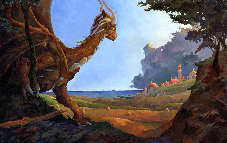 Oil Painting - Galversharn The Dragon Looking For Her Eggs by Storn Cook