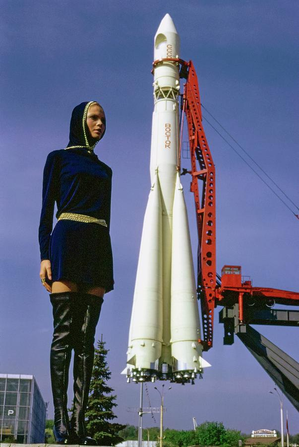 Galya Milovskaya Wearing A Hooded Tunic Photograph by Arnaud de Rosnay