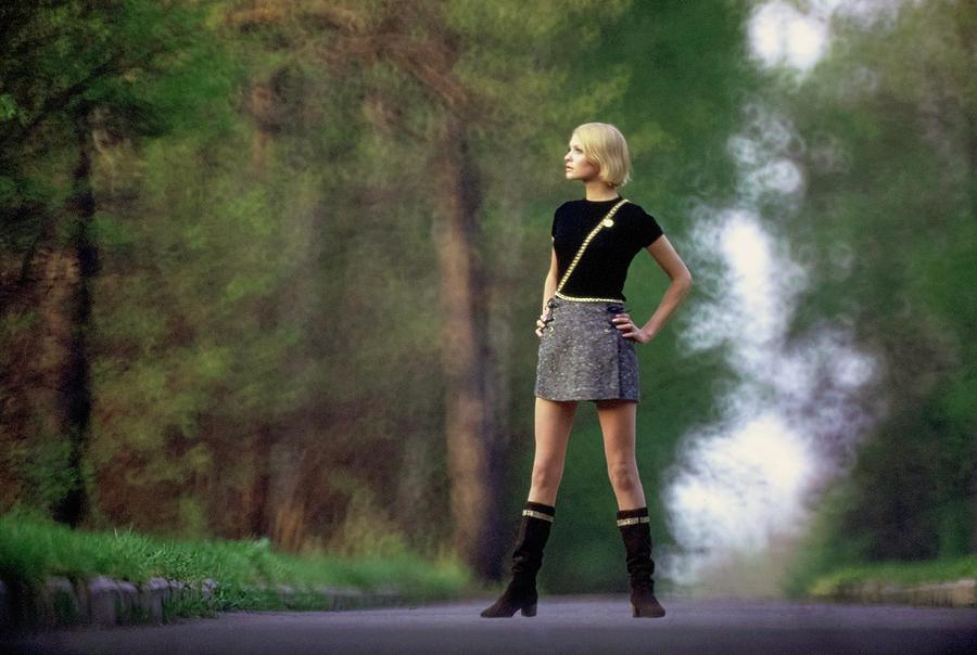 Galya Milovskaya Wearing A Tweed Skirt Photograph by Arnaud de Rosnay