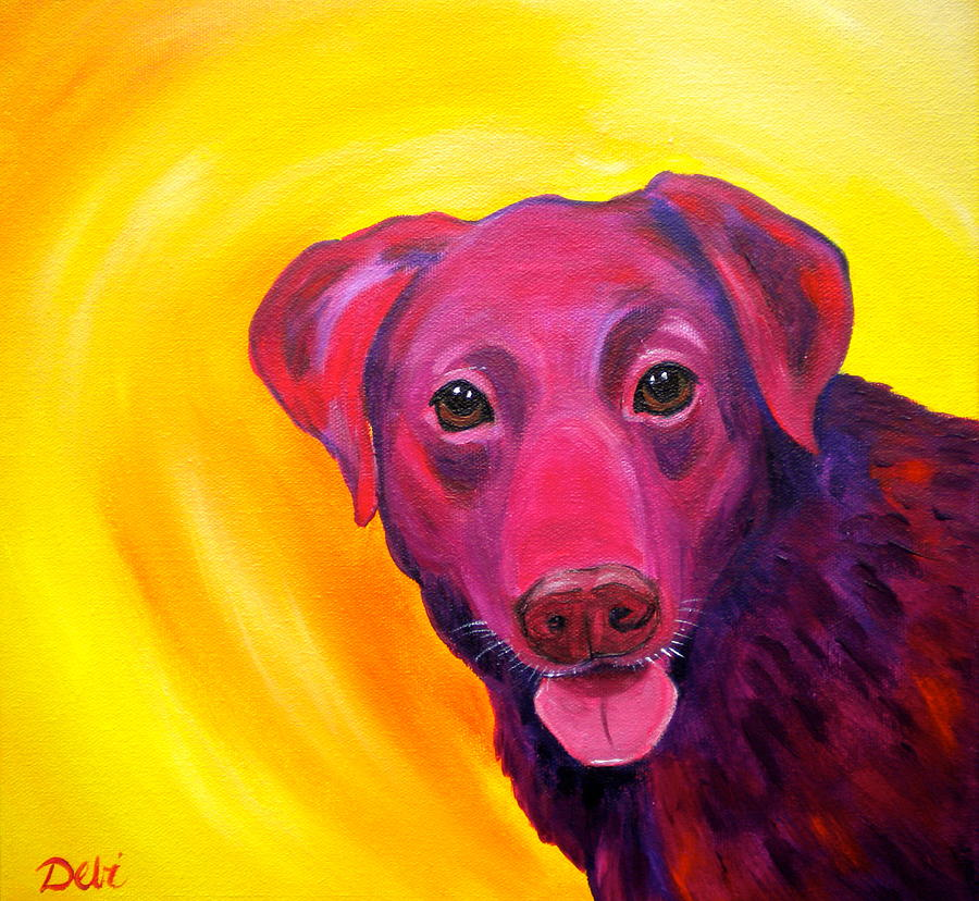 Chocolate Lab Dog Paintings Painting - Gambit by Debi Starr