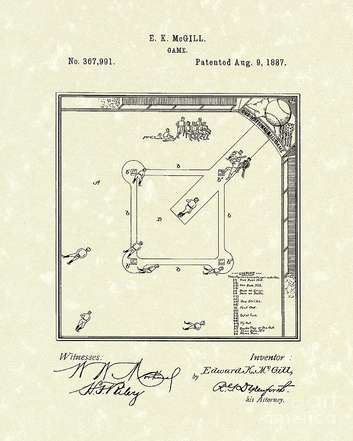 Mcgill Drawing - Game 1887 Patent Art by Prior Art Design