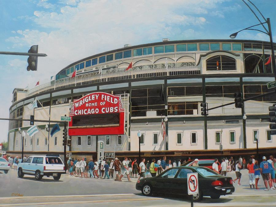 Chicago Cubs Painting - Game Day At Wrigley by Steve Wilson